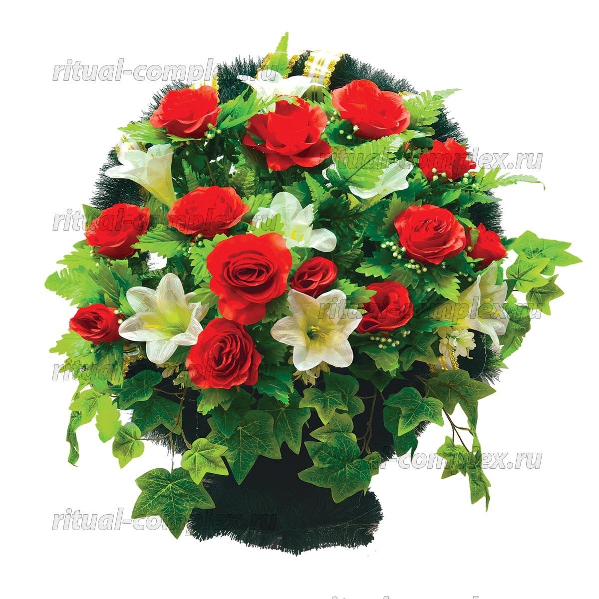 Корзина из искусственных цветов №10