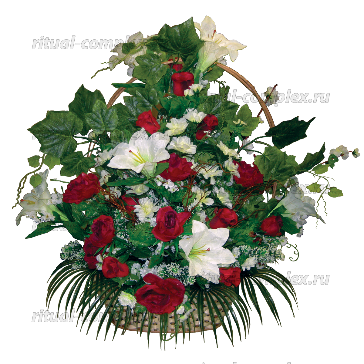 Корзина из искусственных цветов №12