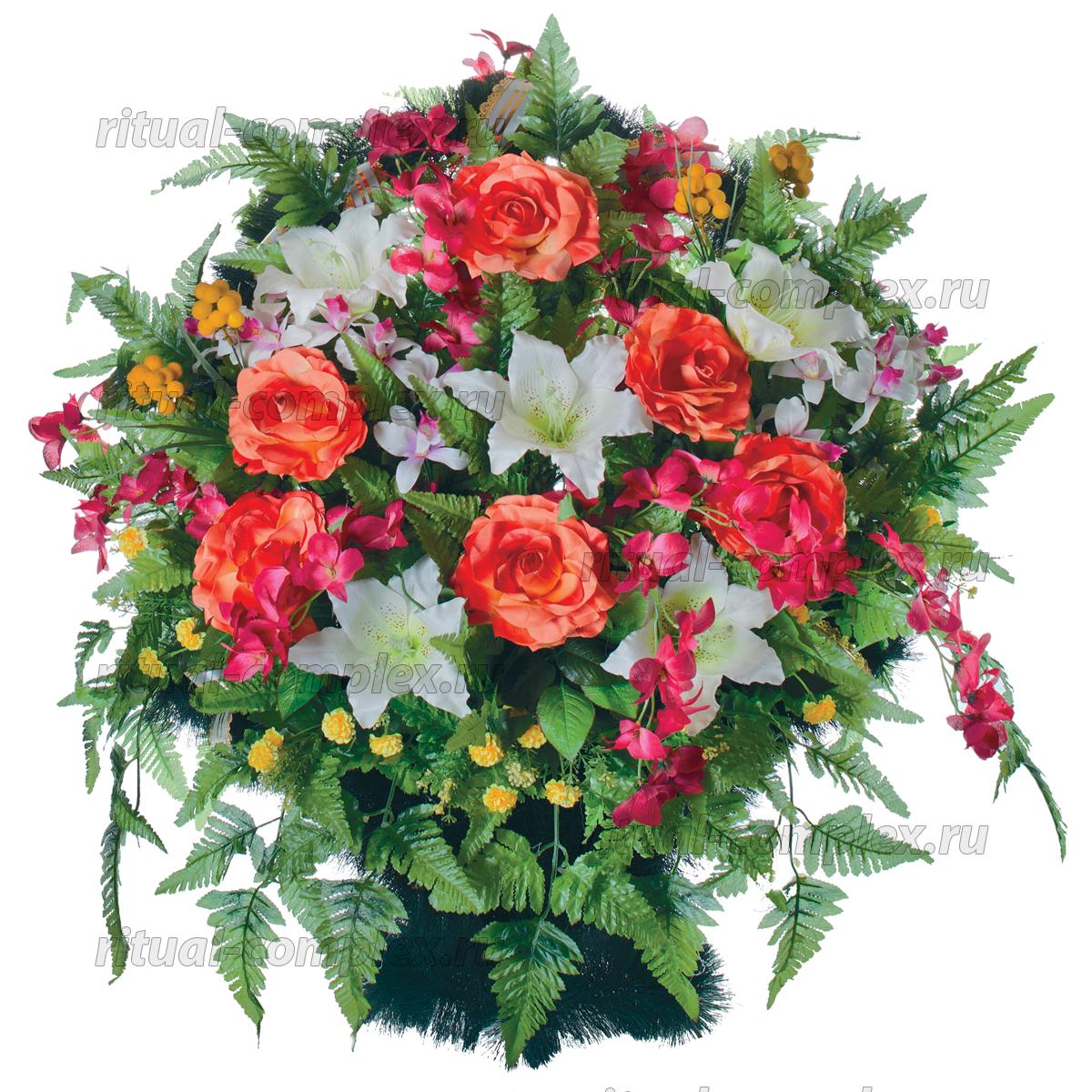 Корзина из искусственных цветов №5